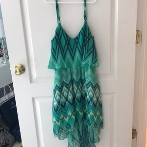 Dresses & Skirts - High Low Teal Patterned Dress